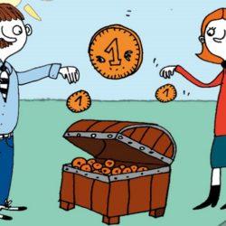ryzunek przedstawiający panią i pana, którzy wrzucają swój grosik do wspólnego kufra
