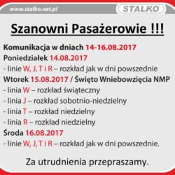 Rozkłady komunikacji miejskiej w dniach 14-16 sierpnia.