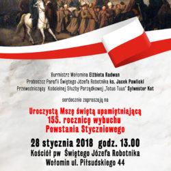 Msza Święta upamiętniająca 155. rocznicę wybuchu Powstania Styczniowego