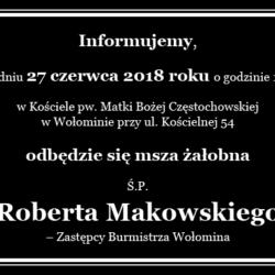 Informacja o pogrzebie Ś. P. Roberta Makowskiego
