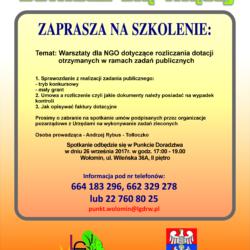 Zaproszenie na szkolenie dla organizacji pozarządowych