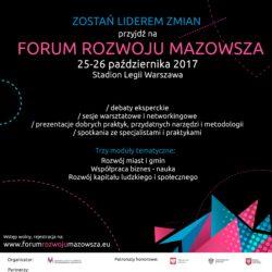 Współpraca, rozwój, wdrażanie – 8. Forum Rozwoju Mazowsza już 25-26 października w Warszawie