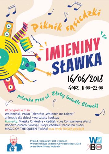"""Zapraszamy na piknik sąsiedzki """"Imieniny Sławka"""" - 16 czerwca 2018 r."""