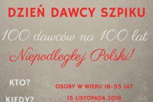 100 Dawców na 100 lat Niepodległości Polski