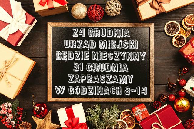 Godziny pracy Urzędu 24 i 31 grudnia 2018