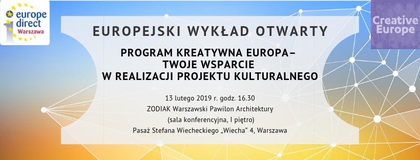 Zapraszamy na Europejski Wykład Otwartego Programu Kreatywna Europa