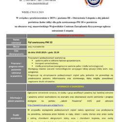 Poziom III - Ostrzeżenie 1 PM2,5 i PM 10 - 19 lutego 2019-1