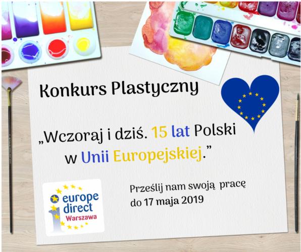 """Konkurs plastyczny """"Wczoraj i dziś. 15 lat Polski w Unii Europejskiej"""""""