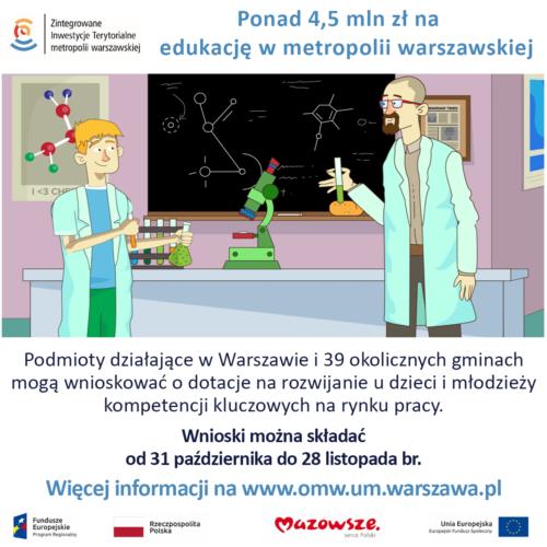4,5 mln zł dotacji unijnych na projekty edukacyjne w metropolii warszawskiej
