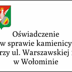 Oświadczenie w sprawie kamienicy przy ul. Warszawskiej 11 w Wołominie