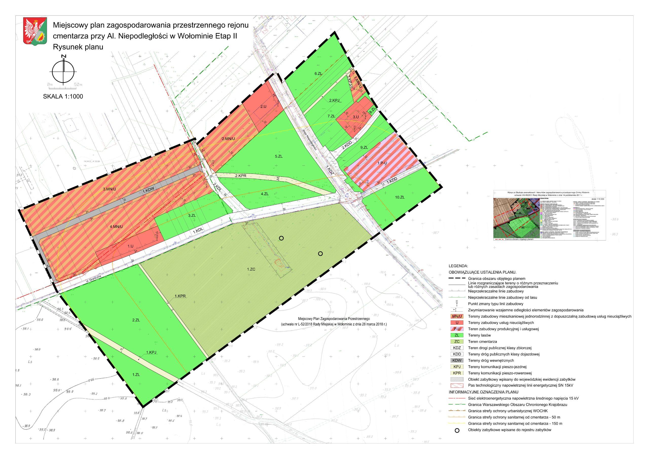 Zapoznaj się z projektem miejscowego planu zagospodarowania przestrzennego rejonu  cmentarza przy Al. Niepodległości w Wołominie etap II wraz z prognozą oddziaływania na środowisko