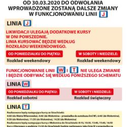 """Zmiany w funkcjonowaniu linii """"J"""" od 30.03.20"""