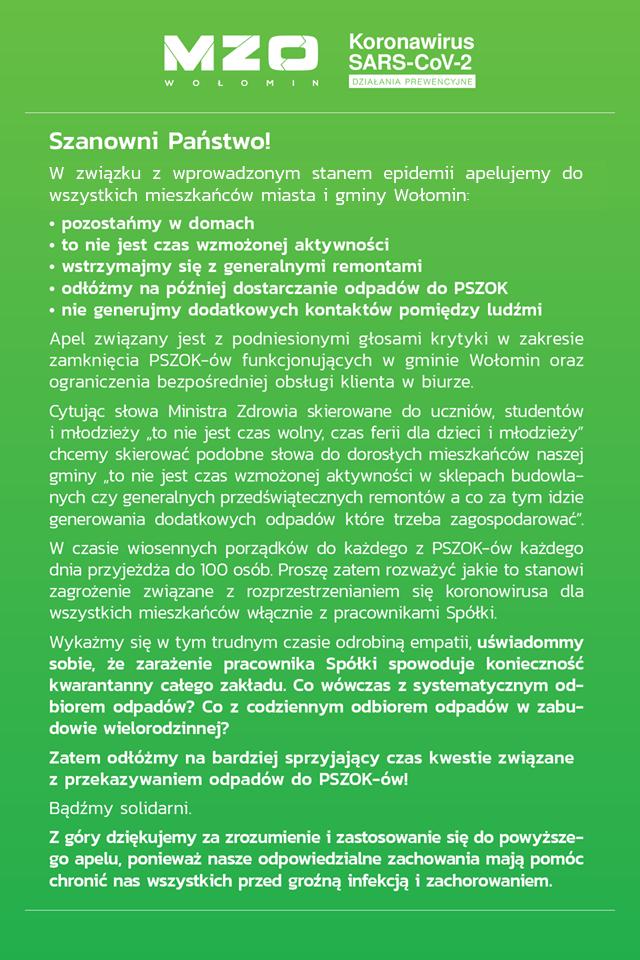 Komunikat MZO w Wołominie