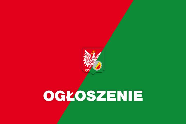 Ogłoszenie z herbem gminy Wołomin - ilustracja Zielono czerwona