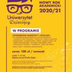 Logo uniwersytetu dziecięcego z Harmonogramem na rok 2020 i 2021