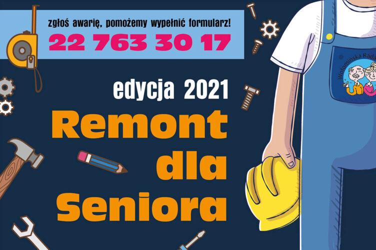 grafika z napisem remont dla seniora z sylwetką fachowca w niebeiskim kombinezonie