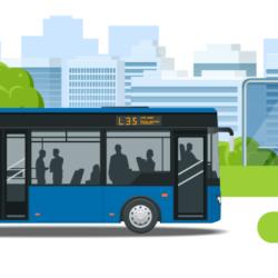 Infografika Autobus L35 na tle drzew i miasta