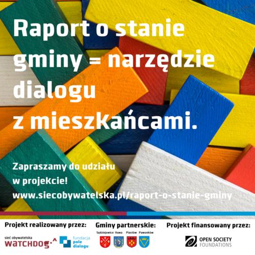 infografika z drewnianymi, kolorowymi klockami dot. raportu o stanie gminy