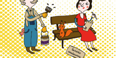 Rysunek w formie komiksu, słynnej artystki Joanny Żero; przedstawiający mamę z dzieckiem, na połamanej ławce siedzi wiewiórka a dziecko mówi do mamy: ale mamo Babcia mówiła że wczoraj siedziała tu na nowej świeżutkiej ławce co się stało ?