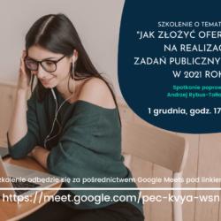 na zdjęciu młoda dziewczyna siedząca przed komputerem. Tekst na garfice jest zaproszeniem na darmowe szkolenie zgodny z treścią atrtykułu.