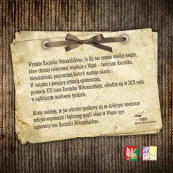 Grafika z informacją nt. terminu promocji Rocznika Wołomińskiego. Kartka z kokardką na brązowym tle