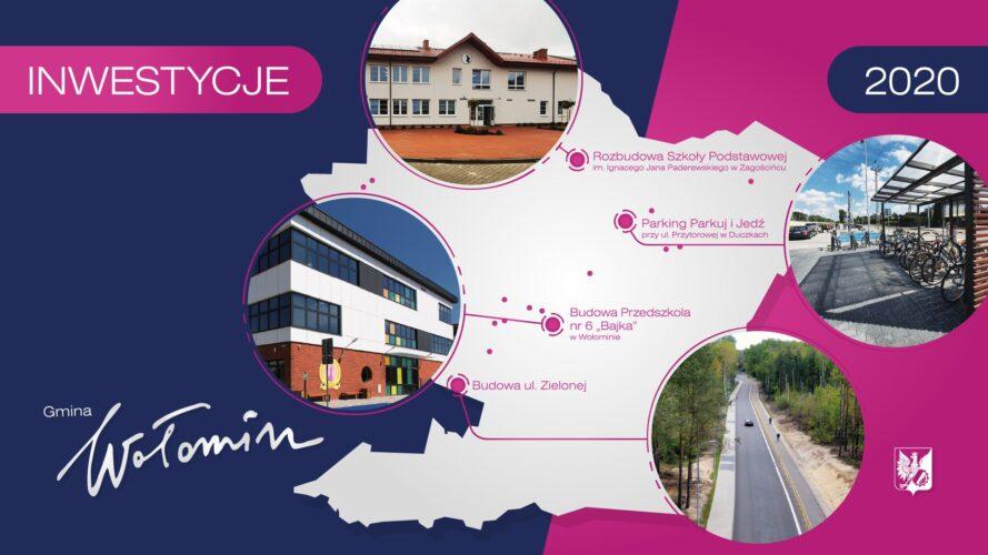 grafika z najważniejszymi inwestycjami w gminie Wołomin