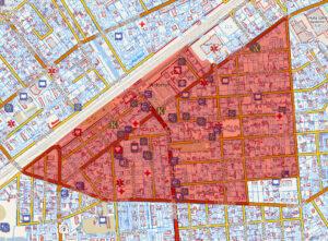 obszar rewitalizacji zaznaczony na czerwono