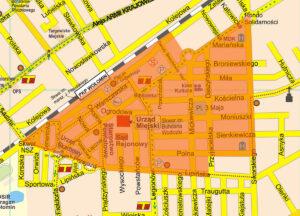 plan obszaru rewitalizacji zaznaczony na pomarańczowo
