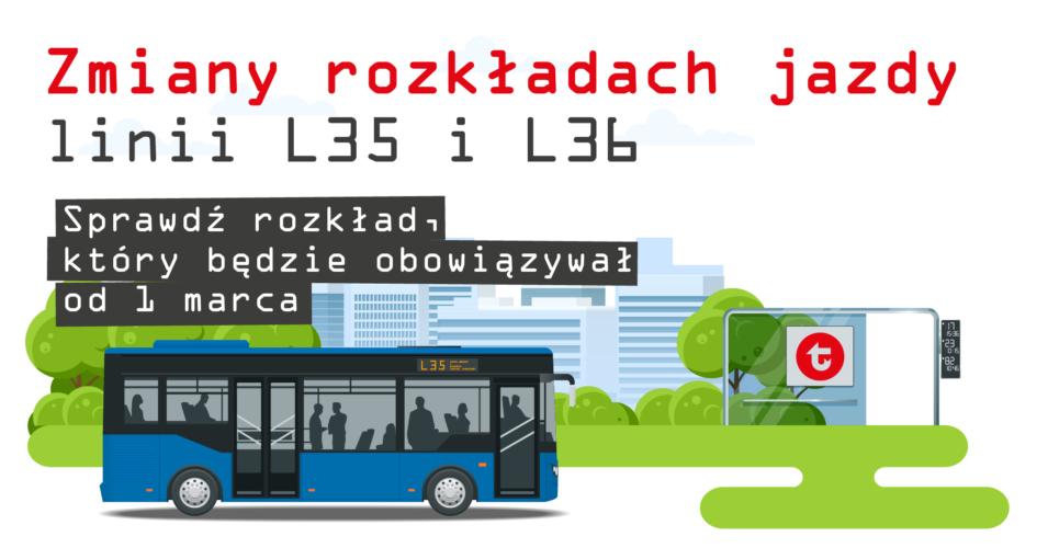autobus i zmiany z linii L35 i L36