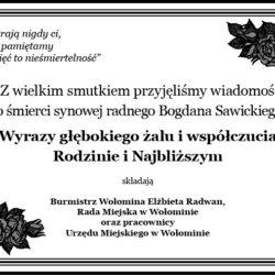 Kondolencje dla Bogdana Sawickiego