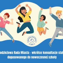 na niebieskim tle rysunek czwórki młodych osób, skaczących z radości