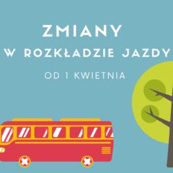 Grafika z czerwonym autobusem i drzewm nt. zmian w miejskiej komunikacji