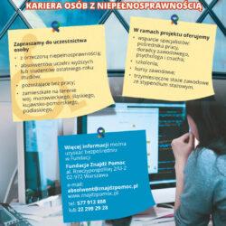 Plakat z osobą pracującą przy komputerze - akcja o pomocy absolwentom