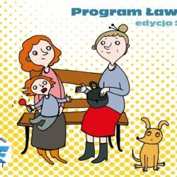 rysunek przedstawiający mamę z dzieckiem na kolanach i starszą panią siedzące na ławeczce i psa