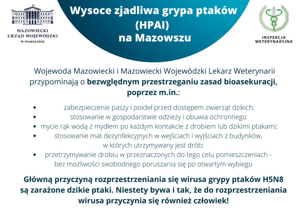 Wysoce zjadliwa grypa ptaków (HPAI) na Mazowszu
