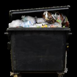 Na obrazku duży, czarny wypełniony po brzegi pojemnik na odpady