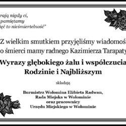 Kondolencje dla Kazimierza Tarapaty